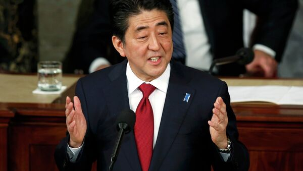 Japanese Prime Minister Shinzo Abe addresses a joint meeting of the U.S. Congress on Capitol Hill in Washington, April 29, 2015 - Sputnik International