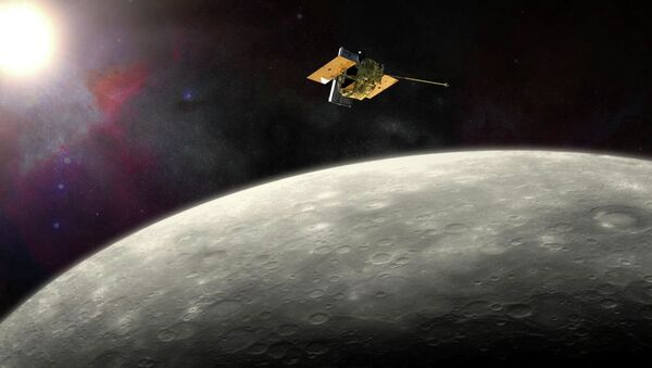 This artist's rendering provided by NASA shows the MErcury Surface, Space ENvironment, GEochemistry, and Ranging (MESSENGER) spacecraft around Mercury - Sputnik International