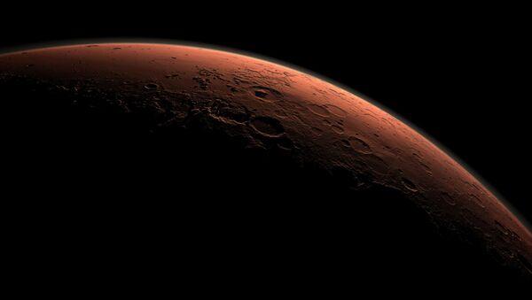 This computer-generated view depicts part of Mars at the boundary between darkness and daylight, with an area including Gale Crater beginning to catch morning light, in this handout image provided by NASA - Sputnik International