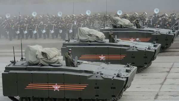 Joint training of soldier formations and mechanized units for Victory Parade - Sputnik International