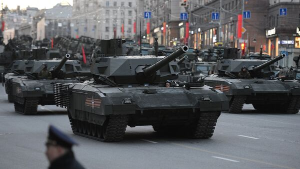 Armata T-14 during the rehearsal of the Victory Day military parade in Moscow - Sputnik International