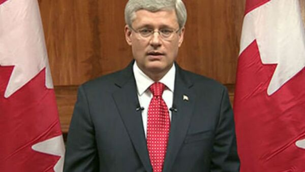 Canada Prime Minister Stephen Harper speaks during a televised address to the nation after October 22nd Ottawa attack. - Sputnik International