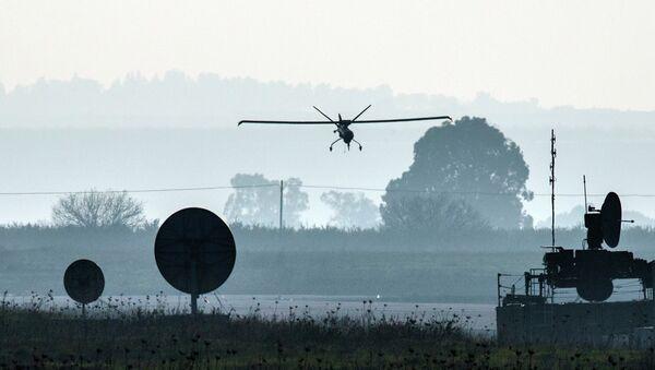 An Israeli UAV landing in an airfield in the Golan Heights. File photo  - Sputnik International