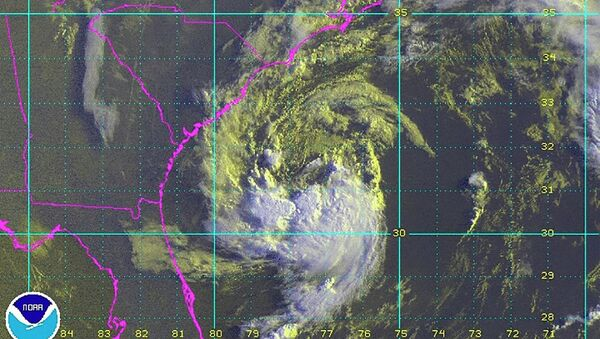 Sub-tropical storm Ana, located about 170 miles (275 kms) south-southeast of Myrtle Beach, South Carolina, United States, is seen in a NOAA GOES satellite image taken at 07:15 am EDT (11:15 GMT) May 8, 2015 - Sputnik International