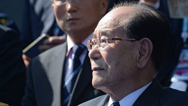 Kim Yong-nam, Chairman of the Presidium of the Supreme People's Assembly of the Democratic People's Republic of Korea, at the military parade to mark the 70th anniversary of Victory in the 1941-1945 Great Patriotic War - Sputnik International