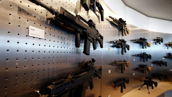 HK G 36 guns are pictured at a show room of arms manufacturer Heckler & Koch 's company headquarters in Oberndorf, Germany. - Sputnik International