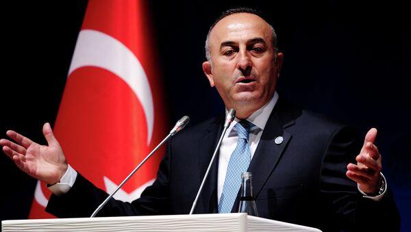 Turkish Foreign Minister Mevlut Cavusoglu gestures during a press conference - Sputnik International