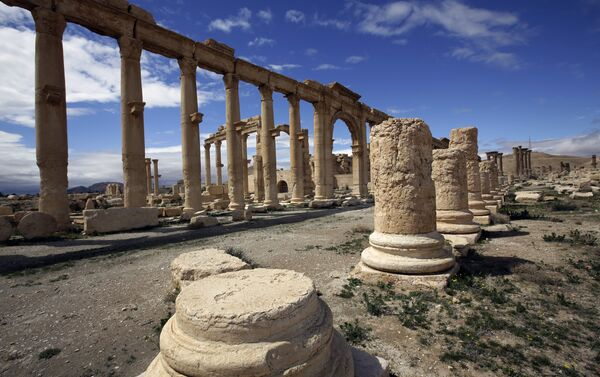 A file picture taken on March 14, 2014 shows a partial view of the ancient oasis city of Palmyra, 215 kilometres northeast of Damascus. Islamic State group fighters advanced to the gates of ancient Palmyra on May 14, 2015 - Sputnik International