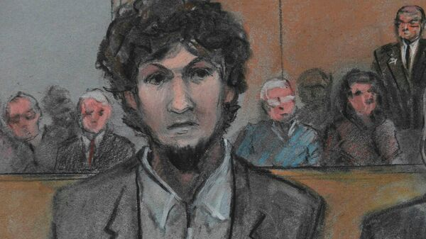 Boston Marathon bomber Dzhokhar Tsarnaev is shown in a courtroom sketch after he is sentenced at the federal courthouse in Boston, Massachusetts May 15, 2015 - Sputnik International