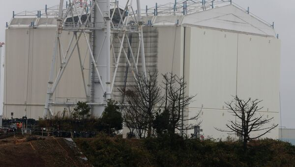 A building covering the Unit 1 reactor is removed by a crane at the Fukushima Dai-ichi nuclear power plant in Okuma, Fukushima Prefecture, northeastern Japan on November 12, 2014 - Sputnik International