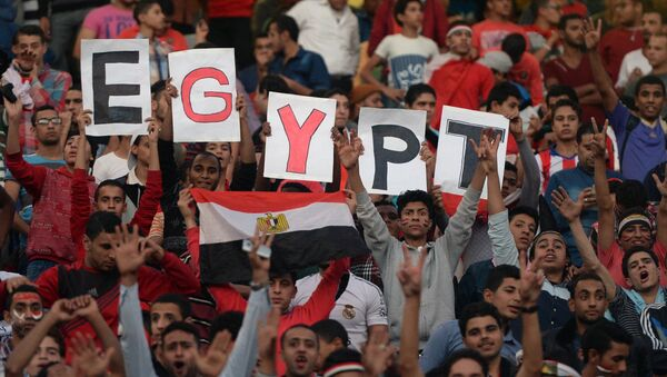 Egyptian fans carry placards and the national flag ahead of the match between Egypt and Senegal during the Africa Cup of Nations group G football match at the Cairo International Stadium in the Egyptian capital on November 15, 2014 - Sputnik International