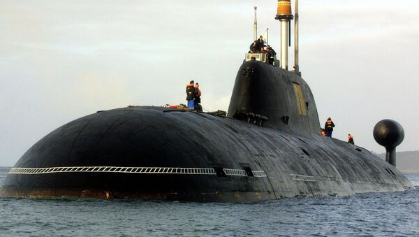 A file picture taken in Brest harbor, western France, on September 21, 2004, shows the Vepr Russian nuclear submarine of the Project 971 Shchuka-B type, or Akula-class (Shark) by NATO classification , the same type as the Nerpa Russian nuclear submarine - Sputnik International