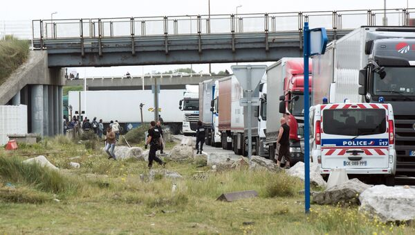 Policemen stand guard next to truck queuing to board a ferry to Great Britain to prevent migrants to reach the UK illegally, on September 10, 2014 in the French port of Calais - Sputnik International