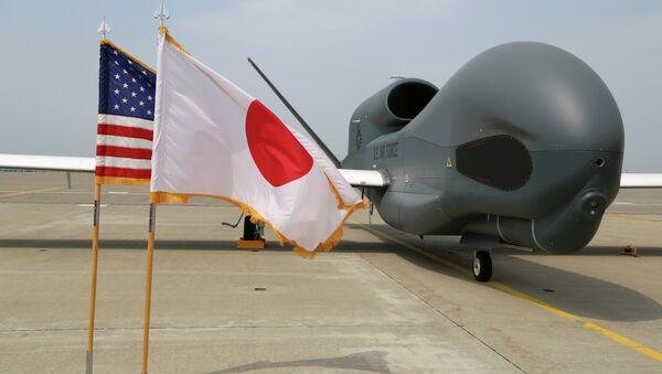 An advanced Global Hawk surveillance drone is displayed outside its hangar at Misawa Air Base in northern Japan Friday, May 30, 2014. - Sputnik International
