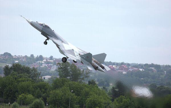 Test flight of T-50, fifth generation fighter aircraft designed by Sukhoi OKB - Sputnik International