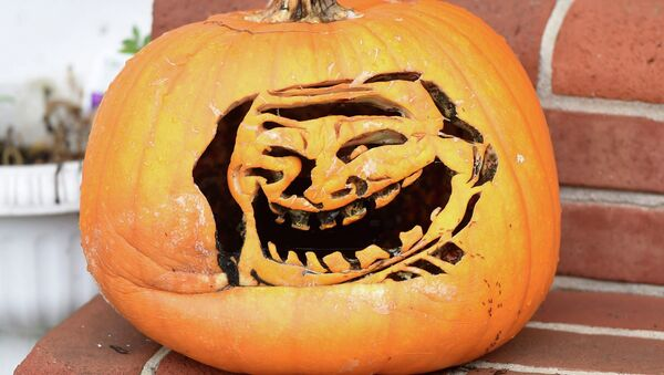 This pumpkin on Scotland Ave. in Chambersburg is carved into a popular internet troll face meme on Wednesday, October 15, 2014 - Sputnik International