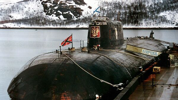 An undated file picture shows the 'Kursk' submarine in the base of Vidyayevo - Sputnik International