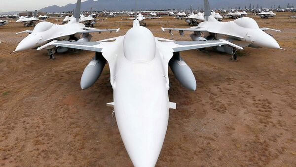 F-16 Fighting Falcons sit in a field along Miami St. at the 309th Aerospace Maintenance and Regeneration Group boneyard at Davis-Monthan Air Force Base in Tucson, Ariz - Sputnik International