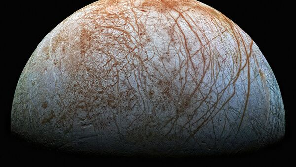 The surface of Europa is the smoothest of any solid object in the solar system and is covered with cracks and streaks, but not craters, due to its youth and tectonic activity. It is also one of the brightest and most reflective of our solar system's moons. - Sputnik International