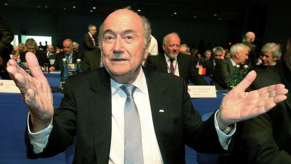 FIFA President Joseph Blatter gestures as he waits for the start of the 39th Ordinary UEFA Congress in Vienna, Austria - Sputnik International