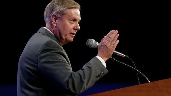 Sen. Lindsey Graham, R-S.C., speaks during the Iowa Republican Party's Lincoln Dinner - Sputnik International