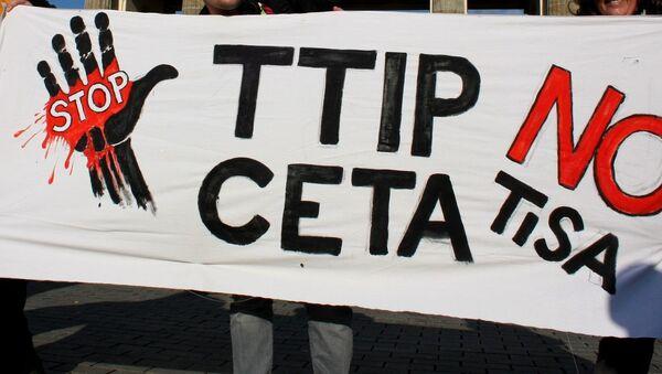 Anti-TTIP, TISA poster - Sputnik International
