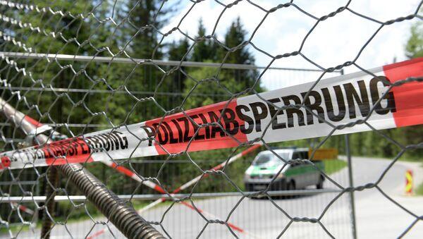 A police barrier can be seen in the small Bavarian village of Klais, southern Germany, at the access road to Schloss Elmau Castle near Garmisch-Partenkirchen - Sputnik International