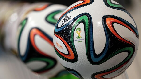 The adidas logo is printed on Brazuca, the official FIFA World Cup 2014 soccer ball - Sputnik International