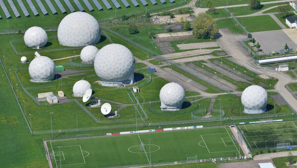 Aerial view taken on May 8, 2015 shows radar domes on the grounds of the German intelligence service BND's post in Bad Aibling, southern Germany - Sputnik International