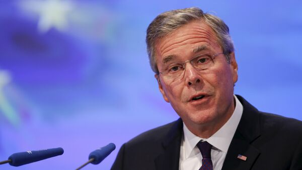 Former Florida Governor and potential Republican presidential candidate Jeb Bush addresses the Christian Democratic Union (CDU) party economic council in Berlin, Germany June 9, 2015 - Sputnik International