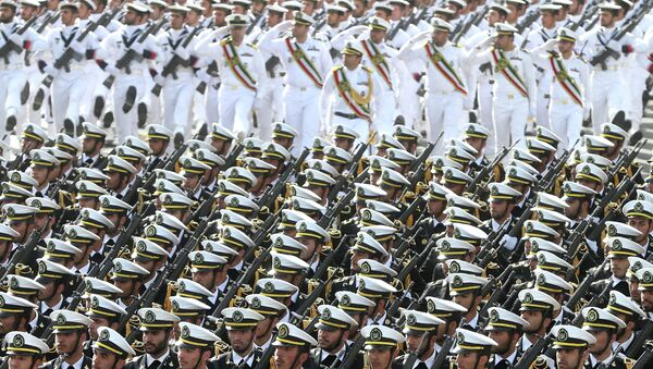 Iranian navy troops march in a parade marking National Army Day - Sputnik International