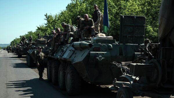 Column of Ukrainian forces stops for a rest not far from eastern Ukrainian city of Artemivsk, Donetsk region - Sputnik International
