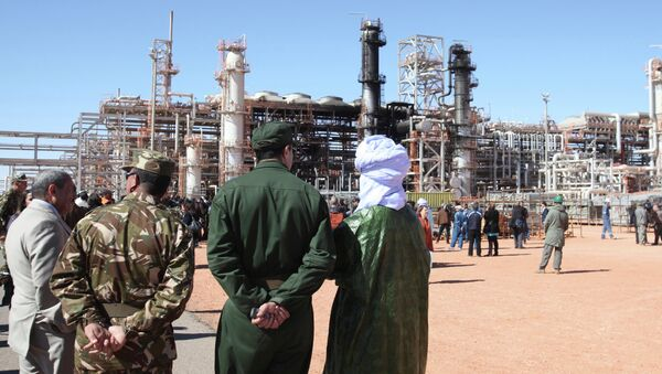 Algerian soldiers and officials stand in front of the gas plant in Ain Amenas. (File) - Sputnik International