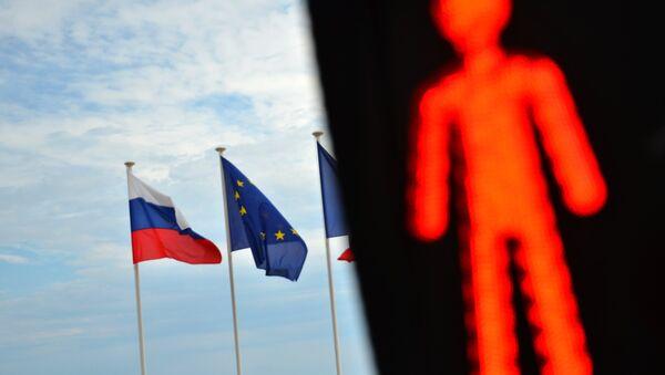 Flags of Russia, EU, France  - Sputnik International