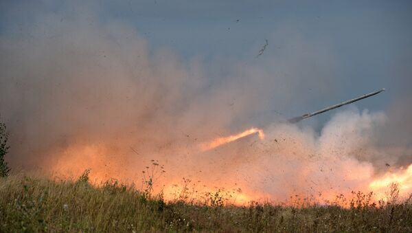 Uragan rocket system launch during an exercise in missile strike and artillery fire control at the Chebarkul firing range of the Central Military District in the Chelyabinsk Region - Sputnik International