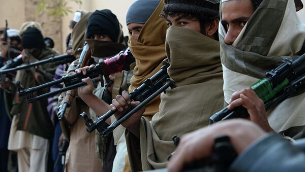 Afghan former Taliban fighters are photographed holding weapons before they hand them over as part of a government peace and reconciliation process at a ceremony in Jalalabad on February 8, 2015 - Sputnik International