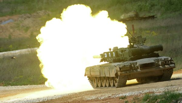 This file photo illustrates a T-80 tank during a demonstration program of Army-2015 International Military-Technical Forum - Sputnik International
