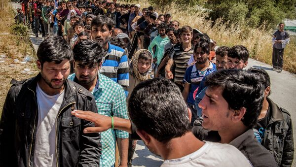 Refugees from Afghanistan are pictured on the island of Lesbos near Moria, Greece - Sputnik International