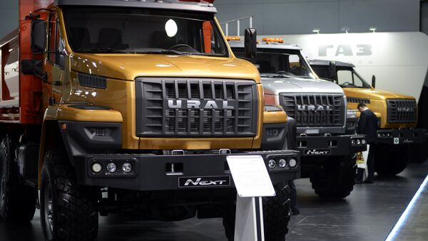 GAZ Group presents its new designs at at the 2015 Construction Equipment and Technologies Exhibition. - Sputnik International