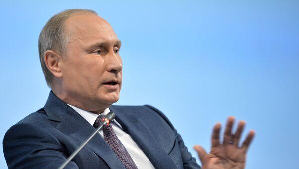 June 19, 2015. Russian President Vladimir Putin at a panel discussion during the plenary meeting of the 19th St. Petersburg International Economic Forum 2015. - Sputnik International