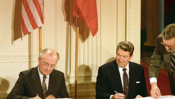 Washington has accused Russia of violating the Intermediate-Range Nuclear Forces Treaty (INF), which was signed by US and Russian leaders Ronald Reagan and Mikhail Gorbachev in 1987, where it was agreed that both parties would scrap all land-based, intermediate-ranged atomic weapons and prevent their proliferation in the future. - Sputnik International