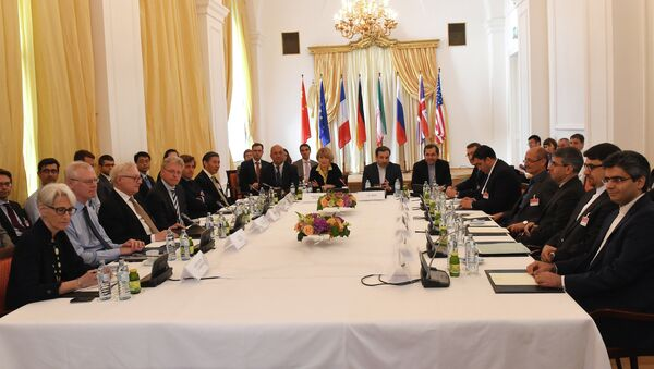 Representatives of EU, US, Britain, France, Russia, Germany, China and Iran meet for another round of the P5+1 powers and Iran talks in Vienna, Austria on June 12, 2015 - Sputnik International