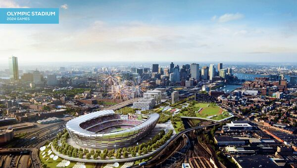 This architect's rendering released Monday, June 29, 2015, by the Boston 2024 planning committee shows an Olympic stadium that is proposed to be built in Boston if the city is awarded the Summer Olympic games in 2024 - Sputnik International