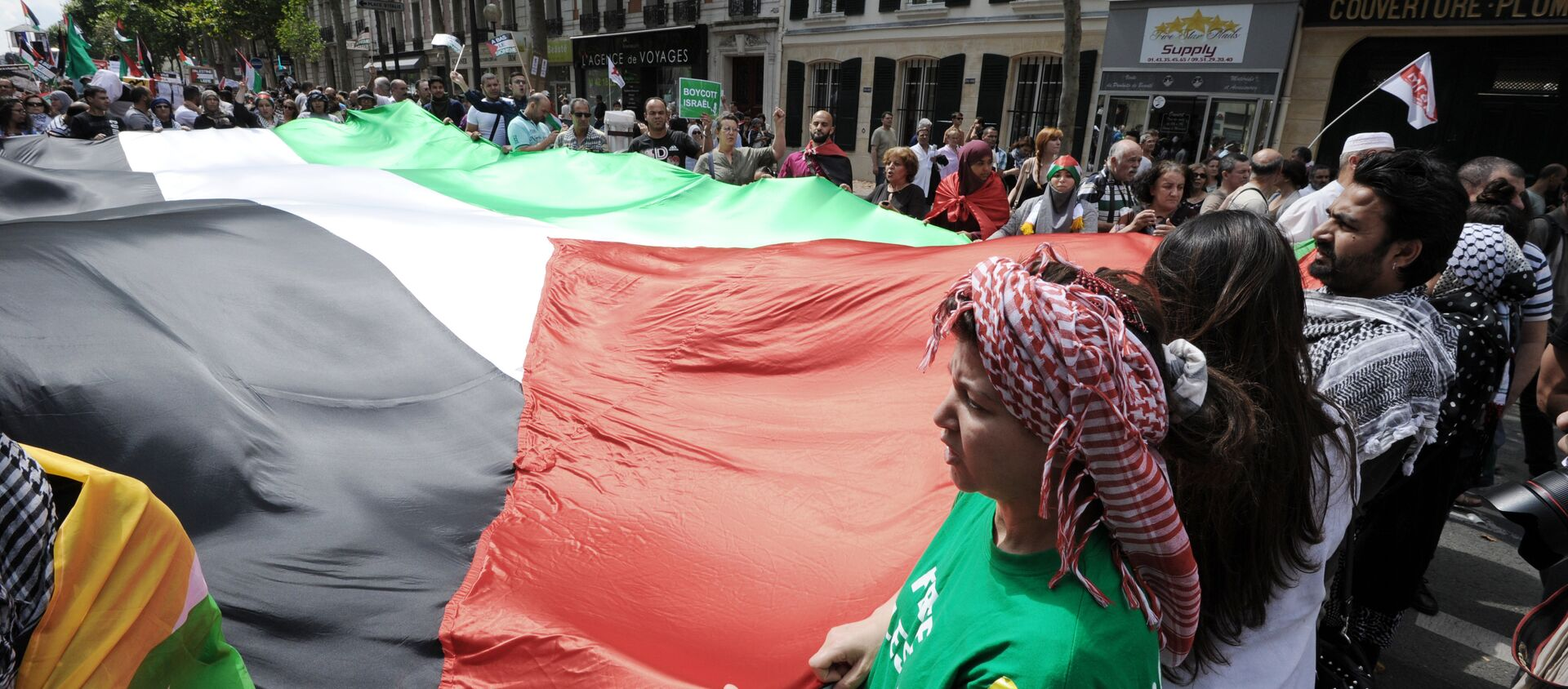 Protesters unfold a large Palestinian flag during a pro-Palestinian demonstration in Paris on August 2, 2014 - Sputnik International, 1920