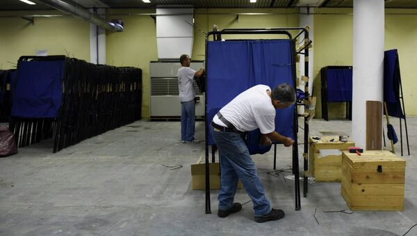 Municipality workers prepare the equipment for the upcoming referendum at a warehouse in the northern Greek port city of Thessaloniki, Wednesday, July 1, 2015 - Sputnik International