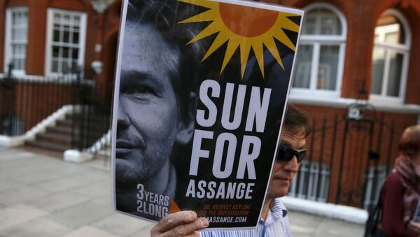 A supporter of Wikileaks founder Julian Assange holds a placard during a gathering outside the Ecuador embassy in London, Britain June 19, 2015 - Sputnik International