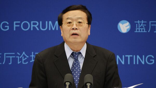 Chinese vice-foreign minister Cheng Guoping answers questions during a Shanghai Cooperation Organisation (SCO) forum prior to next month's summit between the Presidents of Rusia, Iran and China, in Beijing on May 29, 2012 - Sputnik International