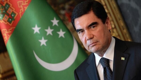 Turkmenistan's President Gurbanguly Berdimuhamedov is pictured during a signing ceremony in the Blue Hall at the presidential palace in Budapest on June 18, 2014 - Sputnik International