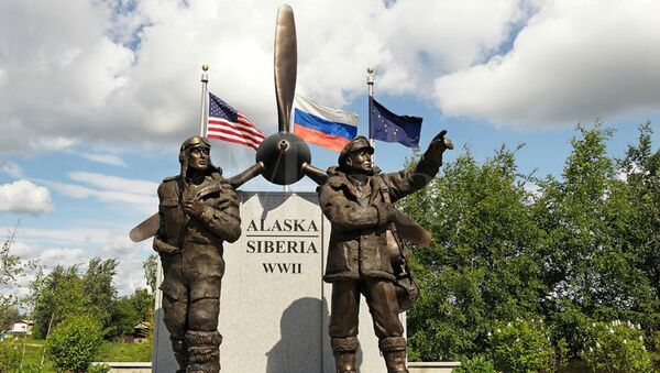 Alaskan Memorial devoted to the ALSIB air route, through which nearly 8,000 US aircraft were transferred to the Soviet Union during the Second World War - Sputnik International