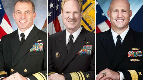 From left, US Navy Admirals Terry Kraft, Michael Miller, and David Pimpo. - Sputnik International